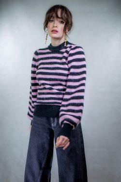 Ganni Striped Ballon Sleeve Sweater