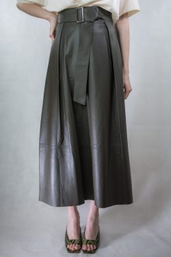 Vince Leather Belted Skirt