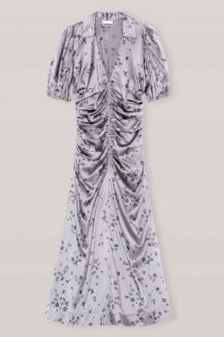 Ganni Silk Satin Ruched V-Neck Midi Dress