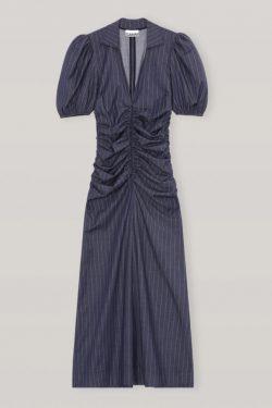 Ganni Pin-Stripe Ruched V-Neck Midi Dress