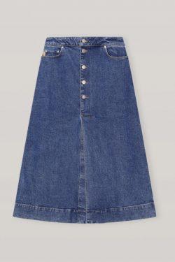Ganni Stretch Denim Midi Skirt