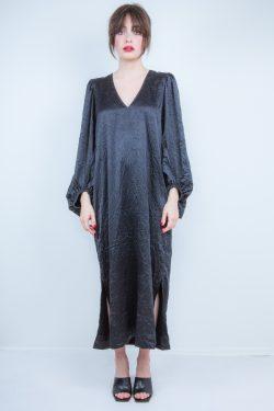 Ganni Crinkled Satin Dress
