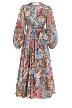 Zimmermann Cassia Patch Wrap Midi Dress